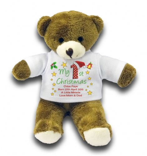 "Personalised My 1st Christmas Bear Gift 7"" Teddy Bear"